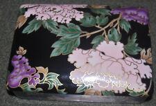 vtg Fitz & Floyd Cloissone Peony blush black Porcelain card box w/ lid New Japan