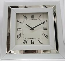 Large Elegant White Silver Mirrored Wall Clock 50x50cm