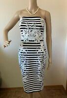 White House Black Market Floral Stripe Dress Size 4