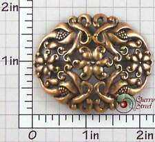 Copper Plated Brass 1516co Floral Dapped Oval Findings Ox