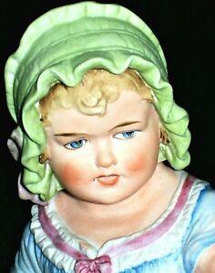 ANTIQUE GERMAN VICTORIAN HEUBACH ERA BABY GIRL DOLL IN BONNET BISQUE FIGURINE