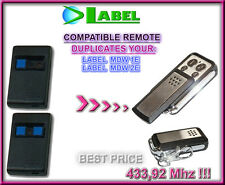 LABEL MDW1E, LABEL MDW2E 433,92MHz COMPATIBILE RADIOCOMANDO TELECOMANDO