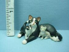 Dollhouse Miniature Mama Cat & 2 Kittens #A71Bw Black & Whte Falcon 1/12th