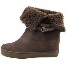 Brand New COACH $299 NORELL Suede/Shearling Brown Hidden Wedge Boot, Size 5 M