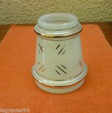 Abat jour opaline,verre,lustre, lampe pétrole, lampe électrique 112 mm N°322