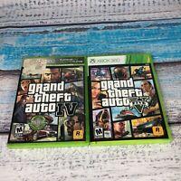 Grand Theft Auto 5 V & 4 IV Bundle Lot! Complete w/ Maps! (Microsoft Xbox 360)