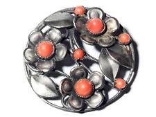 Antique Art Deco Czech coral glass cabochon flower pin brooch style Max Neiger