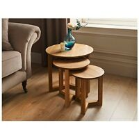 TILBURY SOLID OAK NEST OF 3PC ROUND ELEGANT TABLE SETS HOME OFFICE LIVING ROOM