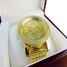 14K MENS YELLOW GOLD TONE REAL DIAMOND SOLID STEEL JO RODEO JO JINO CUSTOM WATCH