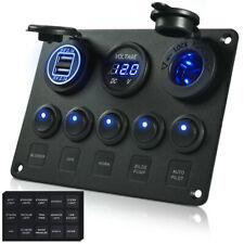 5 Gang Rocker Switch Panel Dual USB Charger Voltmeter Cigarette Lighter Socket