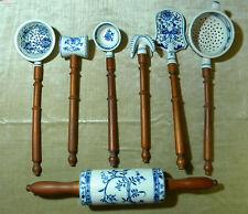 Küchenset Holz/Keramik  Zwiebelmuster Teigroller Quirl Schaumkelle Kelle