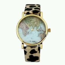 World Map New Globe Fashion Leather Band Womens Analog Quartz Wristwatch