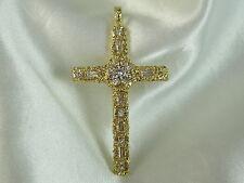 18K Diamond Nugget Cross Pendant 1.40ctw G/VS Fine Jewelry Yellow Gold 8.45gr