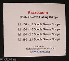 150 Pack Kraze Fishing Leader Double Crimps Sleeves Ferials Size 2.0mm USA Made