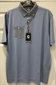 NEW WITH TAGS Footjoy  Two Tone Jacquard Button Down Collar Golf Shirt Size XL