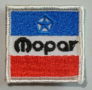 """MOPAR Square Embroidered Patch Red White Blue Pentastar 2"""" x 2"""" 7189"""