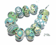 TEMPEST TUMBLERS Handmade Lampwork Beads - Ivory Turquoise Blue Green Teal Black