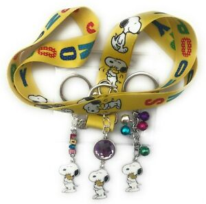 Snoopy and woodstock lanyard (yellow) with optional keyrings - various designs