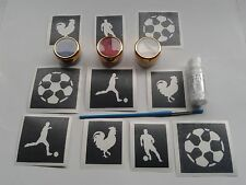 French football themed glitter tattoo set   France players cockerel