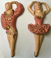 Chalkware Ballet Dancers Couple Hanging Wall Art Hand Painted Pink MCM Kitsch