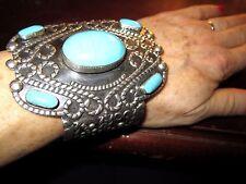 HUGE VTG Sterling+Turquoise Signed ESPERANZA Mexico 925 Cuff Bracelet