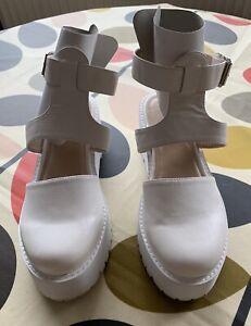 asos White Chunky Platform Sandals Size 5