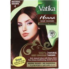 Dabur Vatika Natural Brown Henna Hair Colour Powder | NO AMMONIA |- 60g (6x 10g)