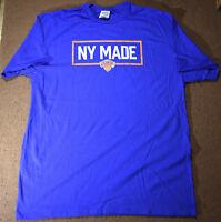 New York Made Knicks Mens Adult Large Blue T-shirt NBA Basketball 2019 Finals