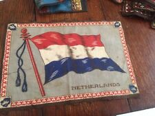 """ANTIQUE EARLY 1900'S TOBACCO CIGARETTE FELT FLAG THE NETHERLANDS  11 X 8.5"""""""
