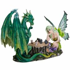 Fairy Playing Chess With Green Dragon Figurine Fairyland Legends Faerie Statue