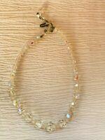 Vintage Graduated Aurora Borealis Plastic Faceted Beads Choker Necklace – 14.5