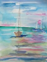 seascape sailboats sunset ocean 15x11 watercolor painting art Delilah