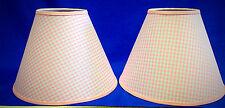 Set of 2 Pink Gingham Checks Handmade Lamp Shade Lampshade