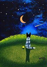 Australian Cattle Dog Black White Heeler Folk Art PRINT Todd Young MOON & STARS