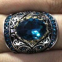 3 Ct Oval Blue Aquamarine Ring Women Wedding Jewelry Gift 14K White Gold Plated
