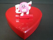 1991 M&Ms Plastic Heart Candy Dish Trinket Box Cupid Figure M&M