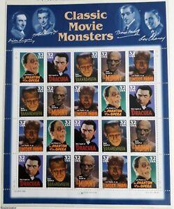 USA 1996 USPS sheet Classic Movie Monsters 32c MNH