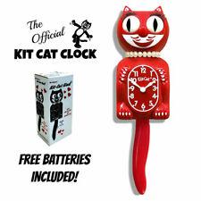 "Scarlet Red Lady Kit Cat Clock 15.5"" Gratis Batería Hecho En Eeuu Nuevo Kit-Cat"