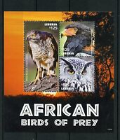 Liberia 2015 MNH African Birds of Prey 3v M/S II Goshawk Eagle Owl Bateleur
