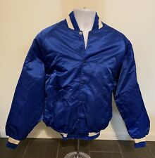 Vintage Satin DeLong Sportswear Nylon Jacket Adult Size Large Blue White