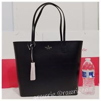 NWT Kate Spade Wright Place Karla Tassel Smooth Leather Zip Tote Black