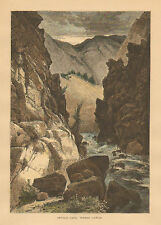 Utah, Weber Canyon, Devil's gate, Thomas Moran, Hand Colored, Antique Art Print,