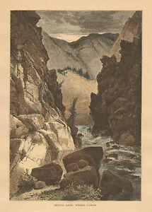 Utah, Weber Canyon, Devil's gate, Thomas Moran, Hand Colored, Antique Art Print,