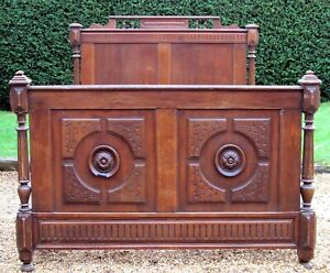 French Carved Oak Small Double ( 4 feet wide ) Bed with Base