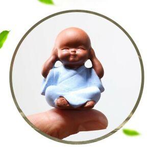 Small Buddha Statue Decorative Ceramic Crafts Purple Clay Ceramic Ornaments Monk