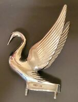 Vintage Chrome Swan Figural Hood Ornament Mascot Bird 1940s-1950s Original Old