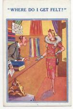 Where Do I Get Felt Drapers Shop Vintage Comic Postcard 807b
