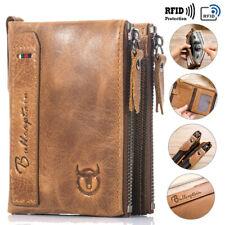 RFID echt-Leder Portemonnaie Geldbörse Geldbeutel Herren Vintage Portmonee Braun
