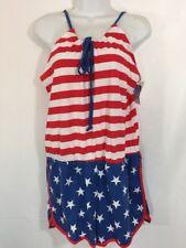 c8427a16d424 NEW American Flag Print Cotton Halter 4th Of July Romper Picnic Beach Summer