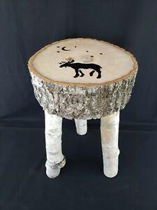 "Handmade Real Birch Wood 3 Legged Stool Cabin Furniture Stars Moon Moose 19""H"